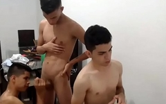 Trio latin twink  blowjob Live -  Fuck Teen Boy