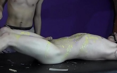 BadBoyBondage - Boy writhes while dried wax is scraped off him with spatula