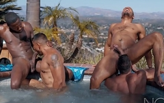 NOIR MALE Pool Boy Initiated into All HUNK ORGY in Hot Tub!