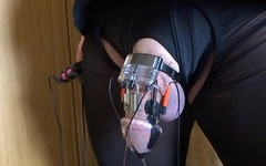 Estim e-stim cum sperm load cock milking with chastity device
