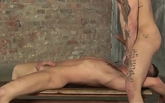 Hot dominant stud chokes and cockrides hung submissive