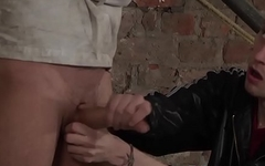 Strait jacked Izan Loren sucked off and fucking BDSM 3way
