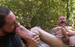 Gagged slave cocksucked by edging maledom
