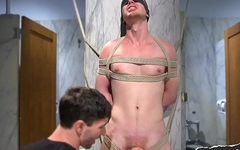 Sensory deprived bdsm gay jerked off