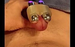 Playing with my vibrating cockring makes me ooze cum