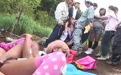 Uncensored JAV group of gyaru farm sex party Subtitles