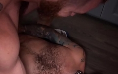 Barebacked stud blows cock and balls