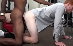 Ginger gives blowjob to get office job