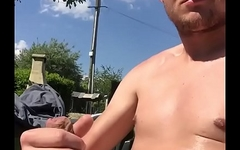 fit guy cum in the sun of the roof
