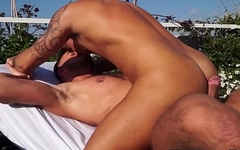 Outdoor anal fucking with tattooed handsome homosexuals