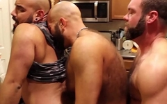 Homo bear group engaging in rough bareback love