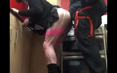 crossdressing sissy takes ass to mouth three times in the kitchen