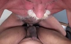 Mature bear tastes jizz after sucking dick