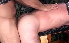 Hairy daddy receives ass drill from behind hard and deep