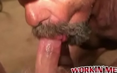 Bearded mature gay sucking dick with pleasure