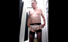 sissy crossdresser ken cums in public changing room and licks the cum up