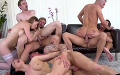 Stud getting anally slammed during mmf orgy