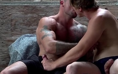 Huge muscular and hairy dude ass fucked by homo buddy