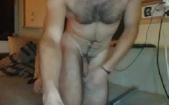 Submissive straight french guy putting a bottle in his ass hole