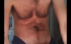 Straight hairy and well hung french guy masturbating and cumming