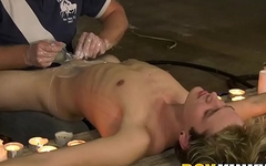 Bound twink receives shaving and handjob from mature pervert