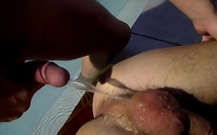Twink Damon Archer drinks piss analled after BJ in pool