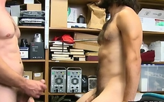 Handsome thief strips before naughty officer bareback