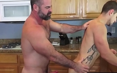 Manly bottom slammed with big bare daddy dick