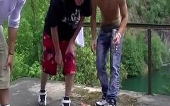 boys spit orgy outdoor