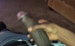 Black cock jerking off
