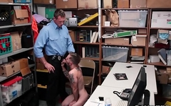 Shoplifting inked boy cums while getting his ass slammed
